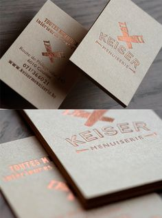 Earthy Copper Foil Business Card For A Carpenter