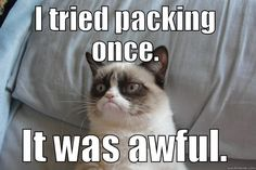 Haha! #Packing shouldn't be as traumatizing as this kittie suggests :D