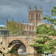 Hereford - View of Wye Bridge and Hereford Cathedral