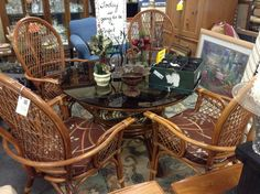 Rattan Kitchen / Dining Set - Round glass top Rattan table and 4 chairs.  Item 693-1.  Price  $360.00   - http://takeitorleaveit.co/2014/11/27/rattan-kitchen-dining-set/
