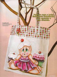Amor-Perfeito-Amor: Cupcake e ginger - pintura em tecido