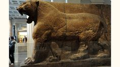 This 15-ton lion symbolized Ishtar, the Assyrian goddess of war, and guarded the entrance to her temple. The cuneiform inscription gives the name op the temple's builder: Ashurnasirpal II (883-859 B.C.)