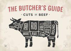 Illustration about Cut of beef set. Poster Butcher diagram and scheme - Cow. Illustration of industry, menu, brisket - 66198177 Beef Sirloin, Beef Tenderloin, Beef Jerky, Beef Steaks, Braised Brisket, Roast Beef, Beef Cuts Chart, Beef Cuts Diagram, Different Cuts Of Beef
