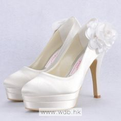 """Graceful 4.5"""" Hand Made Flower Almond Toe Pumps - Ivory Satin Wedding Shoes (11 colors) $77.98"""