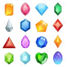 Gems and diamonds icons set in different colors - Stock Vector , Game Icon, Icon Set, Color Vector, Vector Design, Game Design, Icon Design, Steven Universe, Gem Tattoo, Monsters