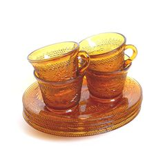 Tiara Amber Sandwich Glass Snack Plates & Cups by Indiana Glass - Set of 4 or 8 Piece Total - Vintage 1970s Pressed Glass Party Dishes