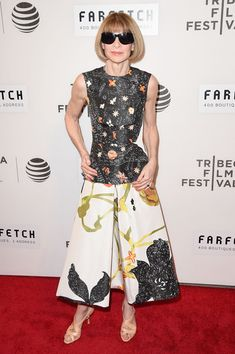 Anna Wintour Print Dress - Anna Wintour looked delightful in a whimsical print dress by Prada at the world premiere of 'The First Monday in May.'