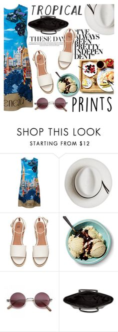 """""""We would dance all night, play our music loud..."""" by azra-rnr ❤ liked on Polyvore featuring Dolce&Gabbana, Calypso Private Label, H&M, tropicalprints and hottropics"""