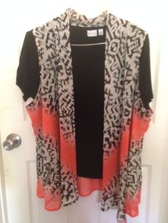 Kim Rogers by Belk Black Inset Coral Black Overlay SZ 2X  #KimRogers #Blouse