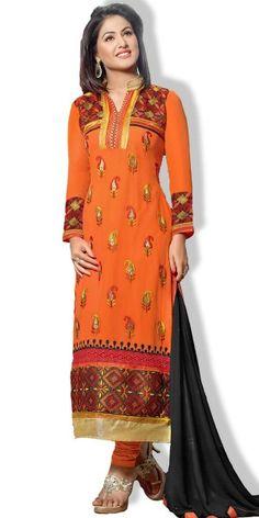 Vivously Orange Georgette Salwar Suit.