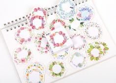 Floral Wreath Paper Stickers