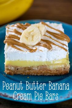 Peanut Butter Banana Cream Pie Bars- and are a match made in dessert heaven in these sweet treats. Made with a Wafer cookie crust and delicious layers of peanut butter, bananas, pudding and whipped cream. These chilled treats Spring Desserts, Great Desserts, Dessert Recipes, Yummy Recipes, Bar Recipes, Cream Pie, Whipped Cream, Vegan Shortbread, Wafer Cookies