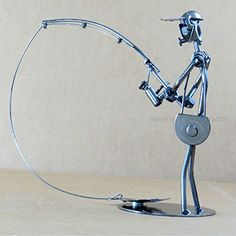 Fisherman Gift - Metal Art Fish - Metal Sculpture Fish- Fisherman Holding Fishing Rod Reel Handmade Metal Collectible Sculpture General General