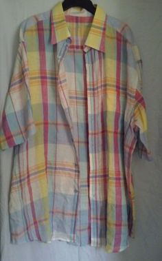 Bugatchi-Uomo-LINEN-Summer-Shirt-Size-XL-Button-Down-Multi-Color-Striped