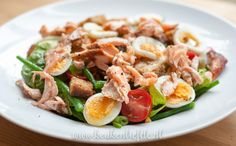 Maaltijdsalade met zalm Chef Recipes, Kitchen Recipes, Healthy Recipes, Food N, Food And Drink, Lunch To Go, I Love Food, Lunches, Brunch