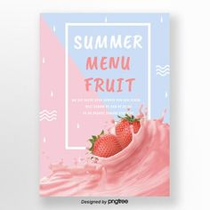 Red and blue stitching style summer strawberry fruit poster Template Strawberry Shots, Strawberry Flower, Snow In Summer, Summer Sale, Strawberry Background, Ice Cream Poster, Fruit Splash, Pomegranate Fruit, Summer Poster