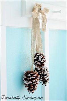Epsom Salt Pinecones with Burlap ~ Easy Christmas/Winter decor by debbie