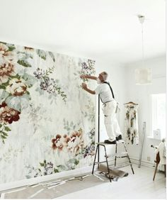 oversized floral wallpaper --- watercolor mural wallpaper statement accent wall --- modern boho bohemian eclectic interior botanical design home decor --- from Mokkasin Shabby Chic Tapete, Wallpaper Wall, Flower Wallpaper, Large Floral Wallpaper, Bedroom Wallpaper, Heart Wallpaper, Wallpaper Patterns, Wallpaper Pictures, Deco Pastel