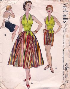 McCall's 9706 ©1954 Separates - Halter, Shorts, Skirt
