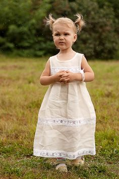 Flower girl linen ivory dress by lefthandedcraftclub on Etsy, $49.99