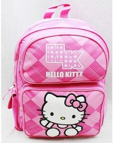 326a195f5da Hello Kitty Back Pack Pink Checker New School Bag Book Girls Accessory   HelloKitty Boys Backpacks