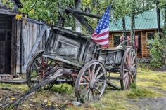 THE OLD WOODEN WESTERN WAGON, A MEMORY IN A PAINTING FOUND ON LINE