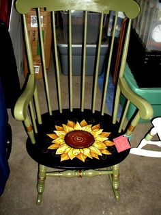 revitalized Boston rocker - handpainted sunflower.  My teenage daughter would love this for her room!
