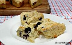 Low Calorie Dessert – Blueberry Scone would use half the butter and some applesauce to replace and almond milk