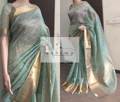 Printed Bandhini Linen Saree With Banarasi Woven Border Fashion Hub, Fashion Wear, Indian Fashion, Tussar Silk Saree, Kanchipuram Saree, Indian Dresses, Indian Outfits, Indian Clothes, Indian Attire