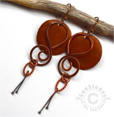Rustic  Copper Earrings  Gypsy Tribal by SunStones on Etsy