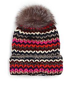 Eugenia Kim Rain Fox Fur Pom-Pom Wool Beanie