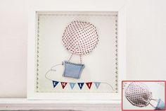 Genähtes Bild  Wunschname im Rahmen groß  Ballon ♥