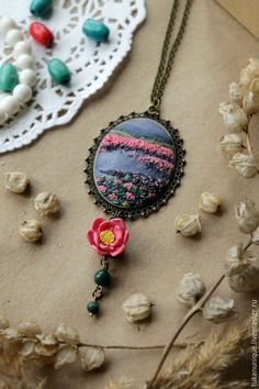 Lovely polymer clay applique pendant
