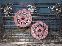 Pink Upcycled Pop Tab Earrings