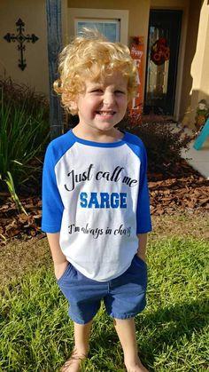 Kids Raglan three quarter sleeve blue shirt. Kids Police