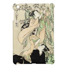 Cool japanese vintage ukiyo-e scroll two geishas iPad mini case #ipad #ipadmini #smartphone #apple #case #cover #ipadminicase #japan #oriental #japanese #gift #geishs
