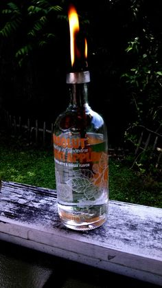 Recycled absolut bottle torch