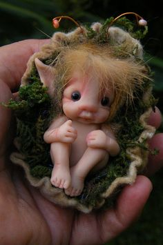 -A BABY fairy IN IT'S NEST- Need him for my fairy garden!