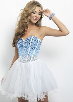 CUTE Strapless Beaded Ombre Dress with a Sweetheart Neckline - Short Prom Dress - Blush Prom 9677 - RissyRoos.com