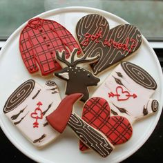 """Manly"" cookies! Although IMHO, my husband would laugh hysterically at these. Besides chopping wood when we're camping none of this would appeal to him. Maybe I should make motorcycle cookies!"
