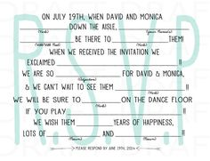 RSVP Mad Libs Set (optional) Digital File #madlibs #rsvp #printable