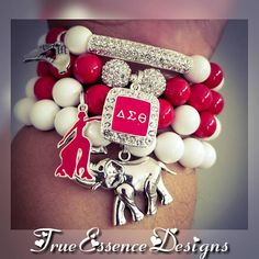 Delta Sigma Theta Sorority Bracelet Set made with Jade Gemstones and Micro Pave Crystal Delta Sigma Theta Gifts, Delta Sorority, Sorority Life, Sorority And Fraternity, Kappa, Timberland Heels, Timberland Style, Timberland Outfits, Timberland Fashion