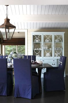 Your chair covers don't always have to be white.  dining room | robin stubbert photographer