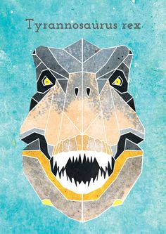 T-REX PRINT by AliceMacleanSmith on Etsy Dinosaur Head, Dinosaur Tattoos, Cute Sewing Projects, Boy Quilts, Prehistoric Animals, Animal Heads, Geometric Art, T Rex, Quilting Projects