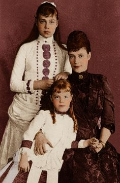 The Romanovs. Empress Marie Feodorovna (1847 – 1928) of Russia with her daughters, GD Xenia Alexandrovna (1875 – 1960) and GD Olga Alexandrovna (1882 – 1960); mother and sisters of Nicholas II; 1880s.