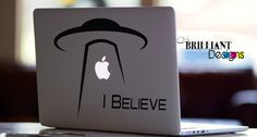 Alien UFO  I Belive    ** Alien UFO**   The alien eyes light up with apple logo      This is for all shapes and sizes of MacBooks. Be sure to tell us what size your macbook is.    **This decal can be used anywhere you like not just for macbook pro**    We only use high grade sign vinyl   If you change your mind the decal can be easily removed and will not leave any sticky glue residue behind.    ** Full application instructions are included with each purchase.**    Made in the USA…