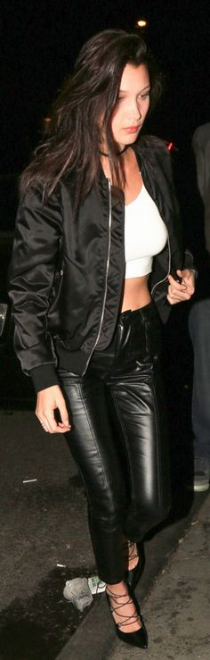 Who made Bella Hadid's black satin jacket and lace up pumps?