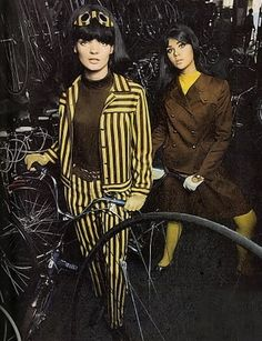 Colleen Corby & Linda Morand 1960s vintage fashion style models magazine mod pantsuit stripes outfit coat jacket skirt dress brown yellow