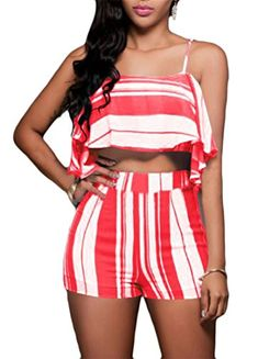 85582fd5b2 Just For Future Womens Sling Cold Shoulder Vertical Stripes Suit Ruffled  Crop Top and Short Pants 2 Piece Outfits