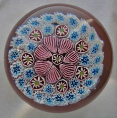 INCREDIBLE Vintage CLOSELY PACKED Millefiori MURANO Glass PAPERWEIGHT with LABEL